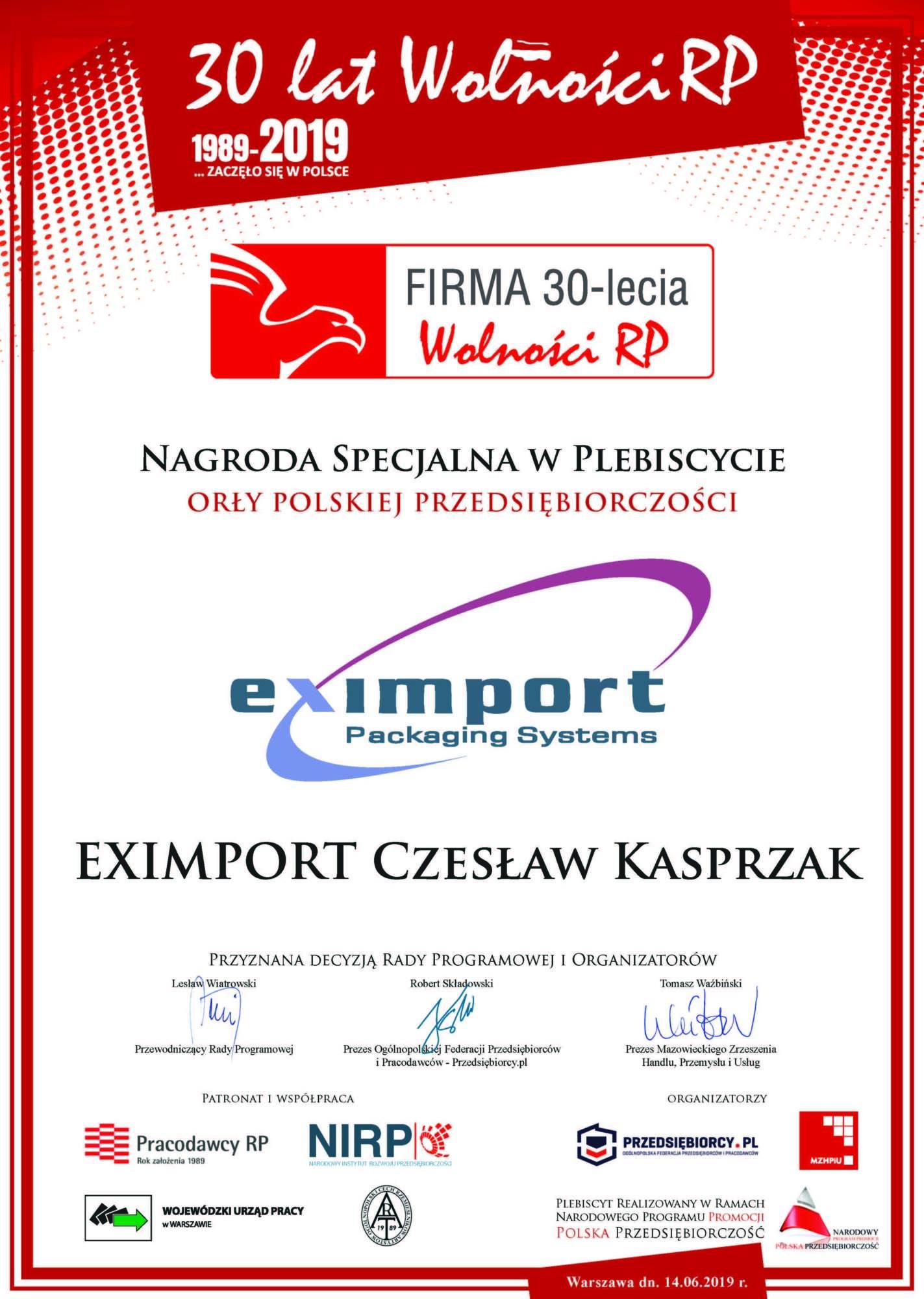 Firma 30-lecia – Nagroda Specjalna w Plebiscycie Orły Polskiej Przedsiębiorczości